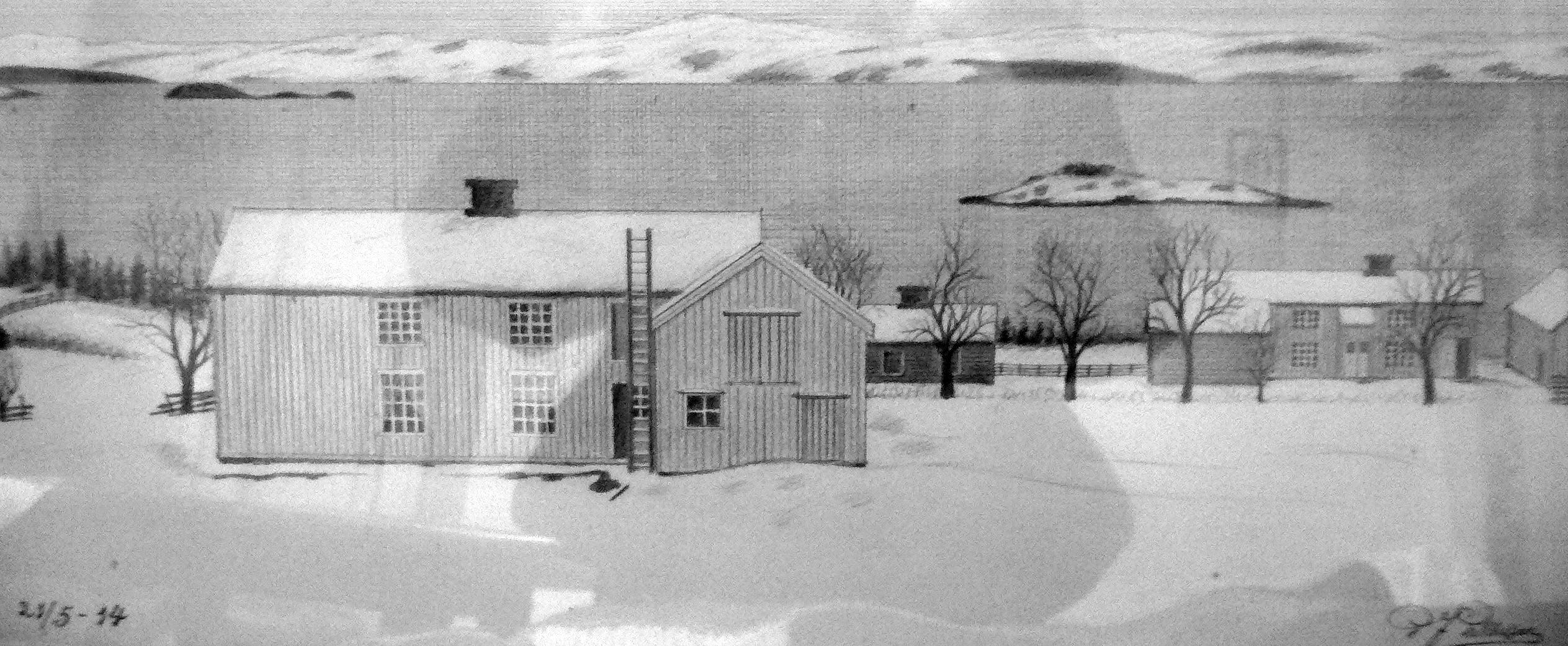 Tegning fra 2014 av husene i Øver-Rønningen, med husene i Ner-Rønningen i bakgrunnen